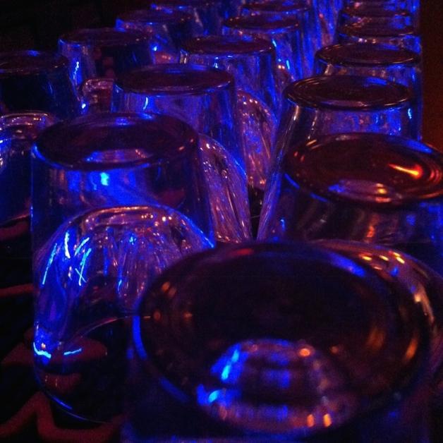 blue shot glasses
